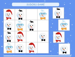 Sudoku for kids. Kids activity sheet. Training logic, educational game. Sudoku game with funny snowman.