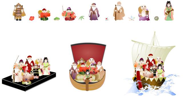 七福神と宝船のイラストセット