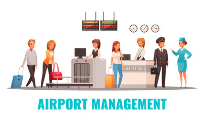 Airport Cartoon Illustration