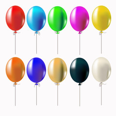 Set of multi-colored balloons. Isolated on white background. Can be used to create patterns, cards, invitations.