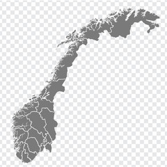 Blank map Kingdom of Norway. High quality map of  Norway with provinces on transparent background for your web site design, logo, app, UI. Europe. EPS10.