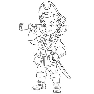 coloring page with boy pirate