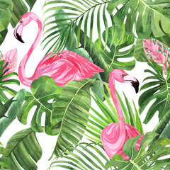 Jungle isolated seamless pattern with tropical leaves, palm monster banana, flamingo on an isolated white background. Fabric wallpaper print texture. Stock illustration.