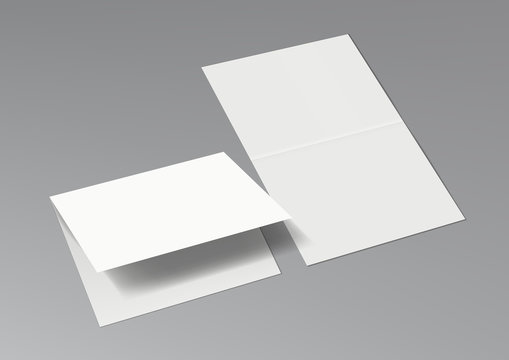 3D Two Halffold Blank White Brochure Template