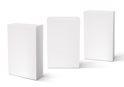 3D White Blank Packaging Boxes Set Isolated