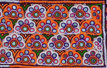 beautiful close up view off Colombian,top view of embroidery background Colombia, art off Colombia,machine made embroidery,