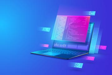 Software development programming, program coding, processing of programming languages on laptop concept. web development and data processing Isometric vector illustration.