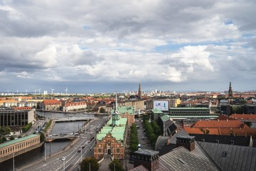 Fotobehang Berlijn High angle view of the beautiful city of Copenhagen in Denmark under the cloudy sky