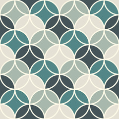 Overlapping circles abstract background. Petals motif. Seamless pattern with classic sacred geometric ornament