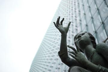 Girls statues outside the EU Charlemagne Building - Brussels Belgium NOV 2019 -