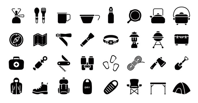 Camping and Outdoor Gear Icon Set (Flat Silhouette Version)