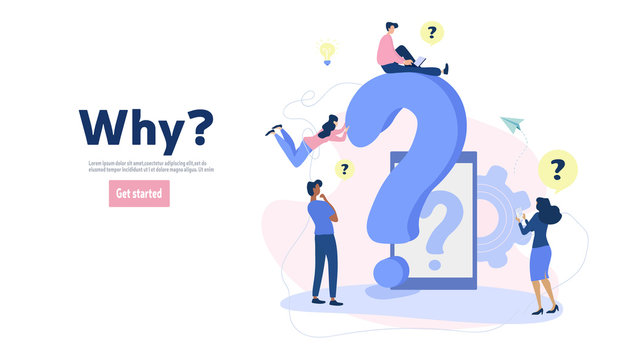 Frequently asked questions concept, people and question marks. For web design, banner, mobile app, landing page, vector flat illustration