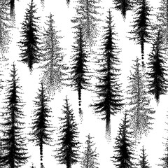 Seamless pattern with dotted spruce tree or coniferous forest in black on the white background.