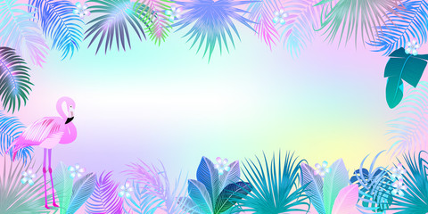 Tropical jungle neon palm leaves frame with flamingo, vector background