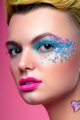 Beautiful girl view in pop art style with bright makeup