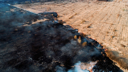 Strong fire in an empty field, slight smoke from a burning place. Large area of burnout, black field.
