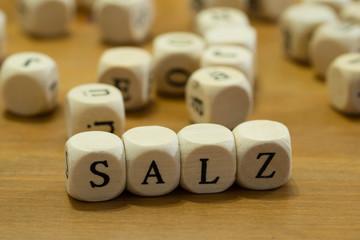 Salt written with wooden cubes