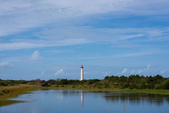 Cape May Lighthouse reflections in the marsh during a summer day in New Jersey
