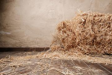 Fototapeta Wooden floor background and dry straw obraz
