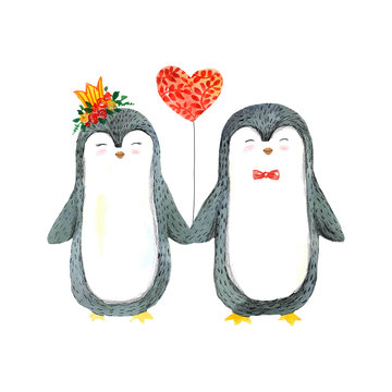 Cute watercolor penguins with heart balloon on white background. Valentine's day couple