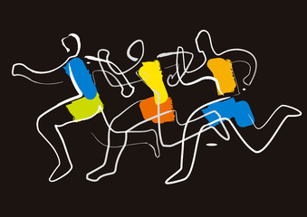 Running race marathon,jogging line art stylized.  Colorful lineart decorative stylized illustration of three running racers.. Vector available.