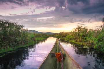 Foto op Aluminium Meer / Vijver Sunset view of Mabamba Swamp from a little wooden fishing boat, Entebbe, Uganda, Africa