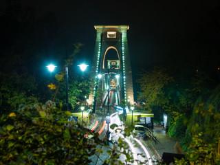 Light trails on Clifton Suspension Bridge at night, Bristol UK