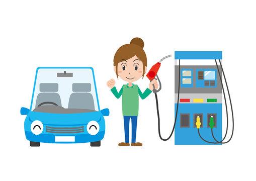 ガソリン 給油 女性