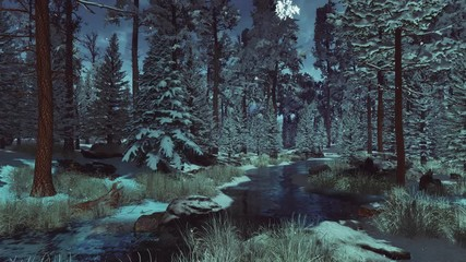 Wall Mural - Mysterious frosty coniferous forest with snow covered fir and pine trees and small woodland creek at early winter morning or dusk during slight snowfall. With no people 3D animation rendered in 4K