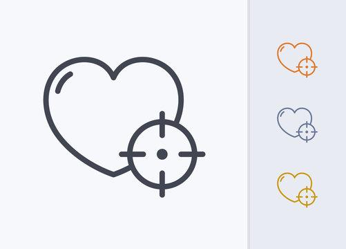 Heart & Crosshair - Pastel Stroke Icons