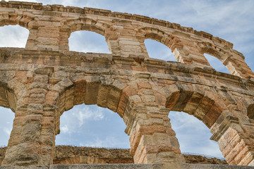Detailed look on ancient amphitheater in Verona, Italy