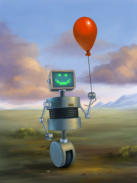 Cute robot holding a red baloon