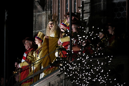 Christkind (Christ Child) Benigna Munsi officially opens the Christkindlesmarkt in Nuremberg