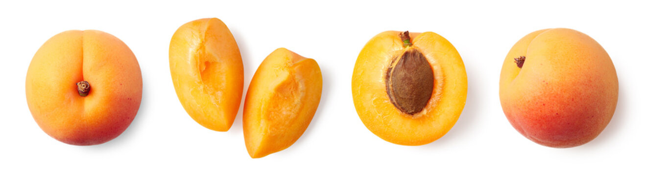 Fresh ripe whole, half and sliced apricot