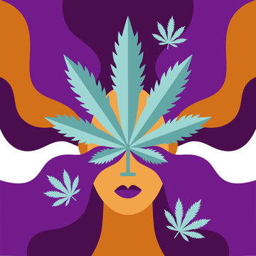Cannabis Poster. The concept of herbal alternative medicine, pharmaceutical industry. Flat vector illustration.