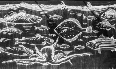 Chalk drawn picture of fishes