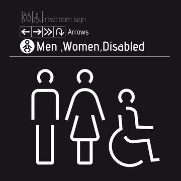 toilet restroom men women disabled handicap wheelchair sign WC vectors1