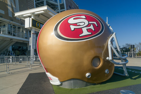 San Francisco 49ers Life-Size Helmet Outside Levi's Stadium