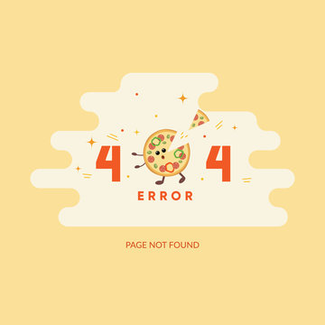 Error page illustration. 404 page  with pizza for pizza and italian food delivery web site.