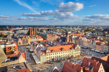 Wroclaw, Poland. Aerial view of Rynek square - historic market square in the center of city