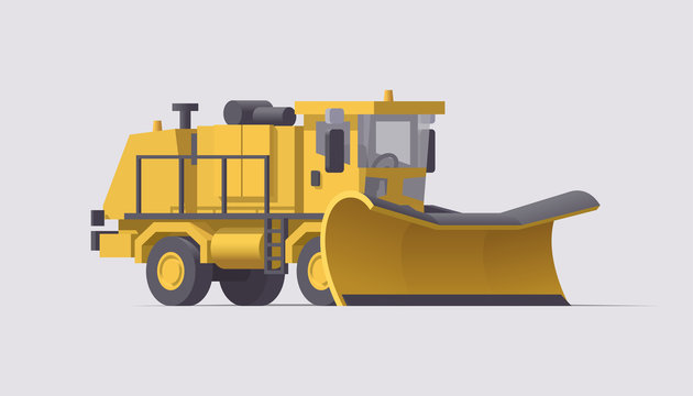 Snow removal truck. Vector isolated snowblower illustration. Airport cleaning machinery