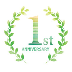 Anniversary logo of the 1st anniversary designed with laurel painted in watercolor.green