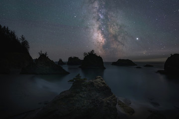 Silhouette of Sea Stacks under the Starry Night Sky from Secret Beach Wall mural