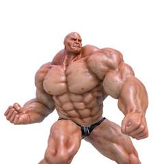 bodybuilder man super hero pose seven