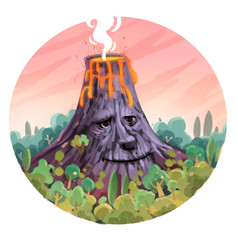 erupting volcano with face shape