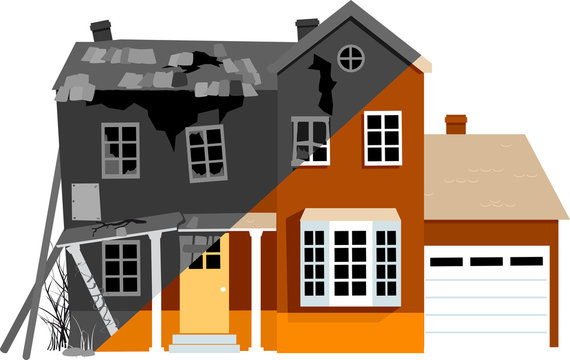 Dilapidated house before and after remodeling, EPS 8 vector illustration