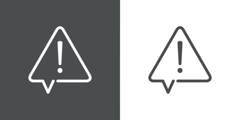 Señal de advertencia de peligro. Icono plano lineal señal triángulo como globo de habla con aviso de peligro en fondo gris y fondo blanco Wall mural
