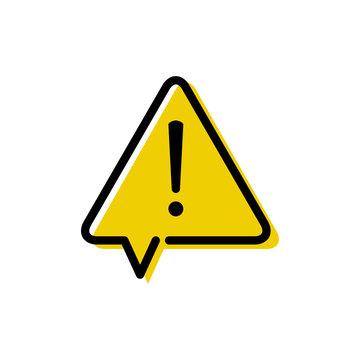 Señal de advertencia de peligro. Icono plano lineal señal triángulo amarillo como globo de habla con aviso de peligro