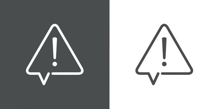 Señal de advertencia de peligro. Icono plano lineal señal triángulo como globo de habla con aviso de peligro en fondo gris y fondo blanco