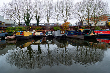 Houseboats in Little Venice canals in London
